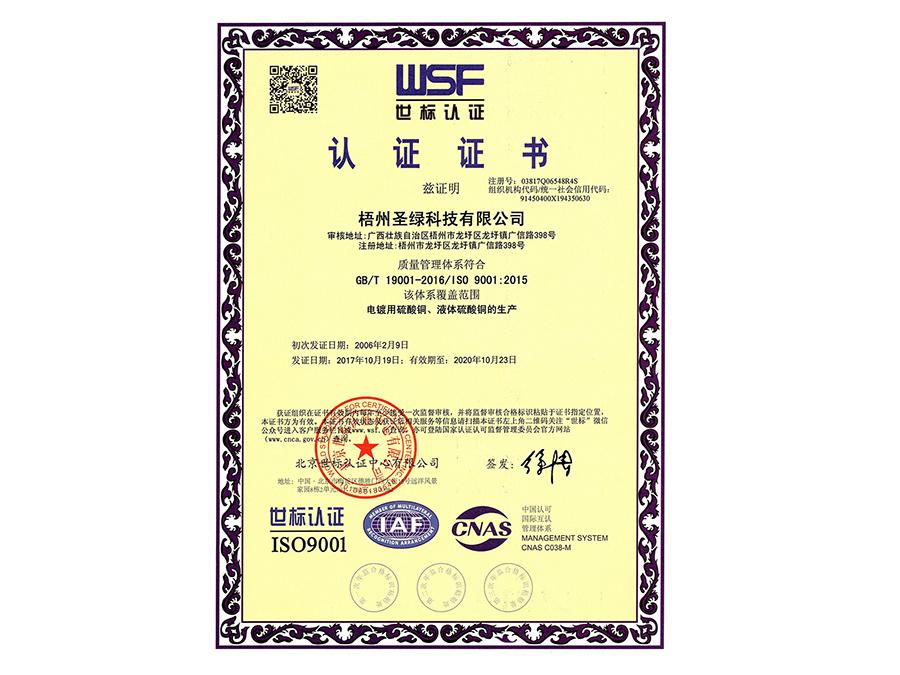 ISO 9001:2005 认证证书