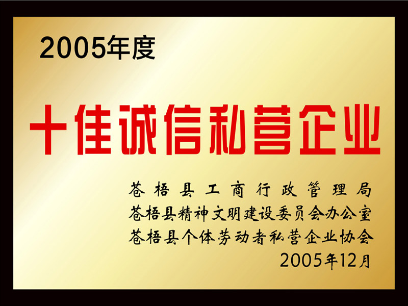 2005年度十佳诚信私营企业